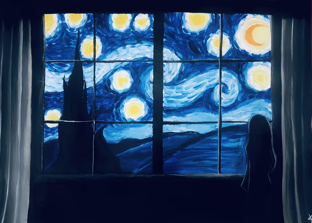 vangogh -starry night 2 Illust of Dark Angel MasterpieceFanart handdrawn painting starrynight acrylic vangogh