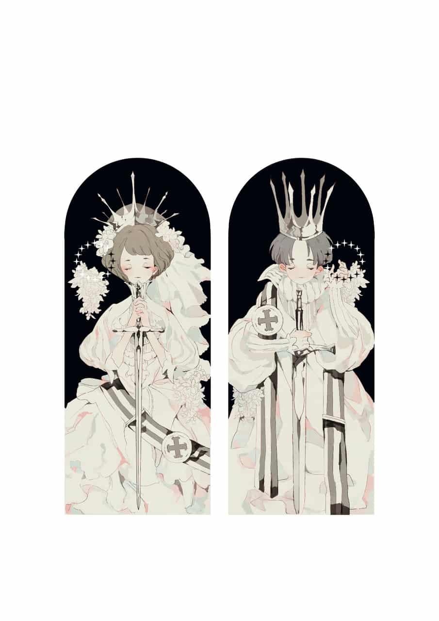 Gloria Illust of ひがしの イラストレーション girl crown boy original ティアラ flower