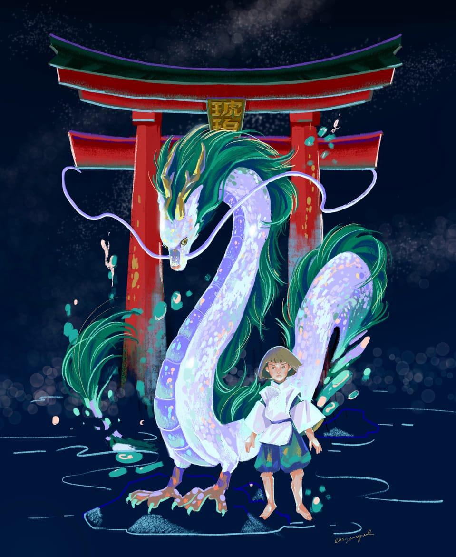 白龍 Illust of ngpy illustration GHIBLI 白龍 character SpiritedAway 插畫練習 color