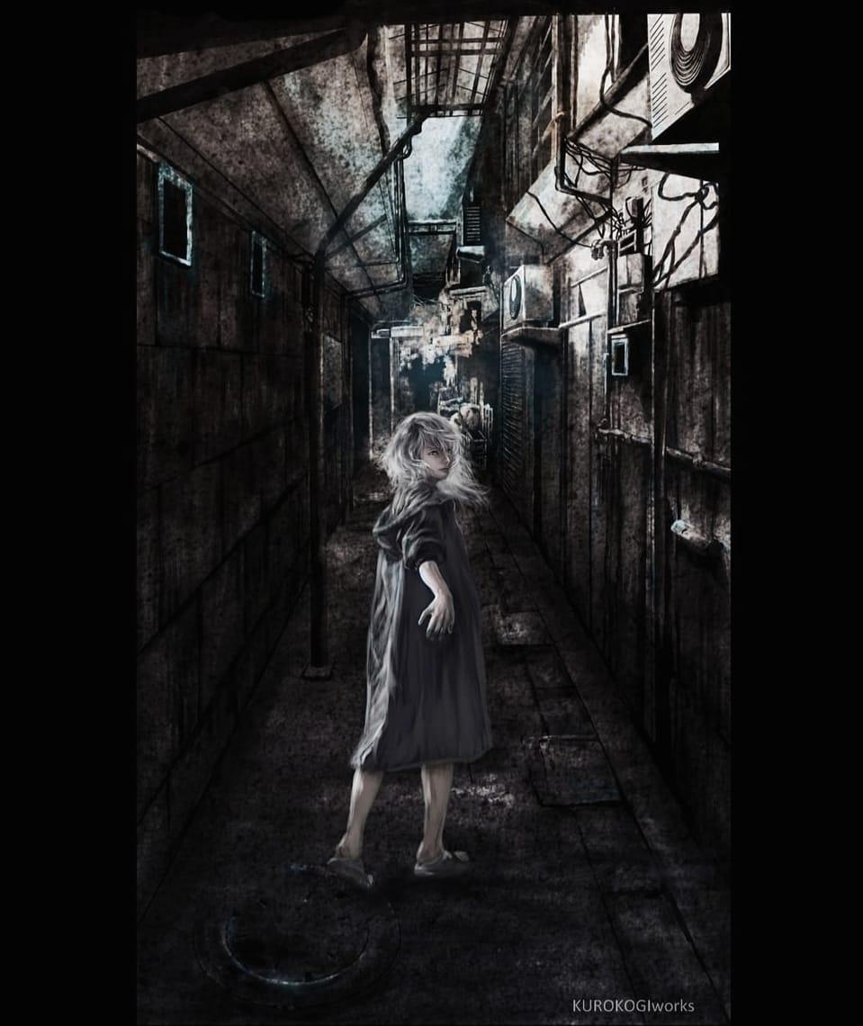 路地裏の少年 Illust of KUROKOGIworks May2021_Monochrome white_hair boy 路地裏