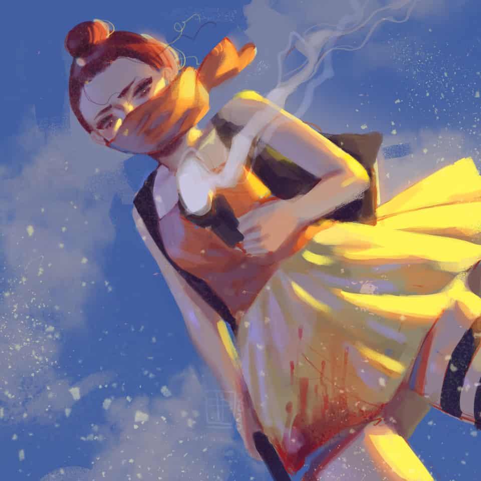 """... sorry""  Illust of poki.han Gun girl oc"