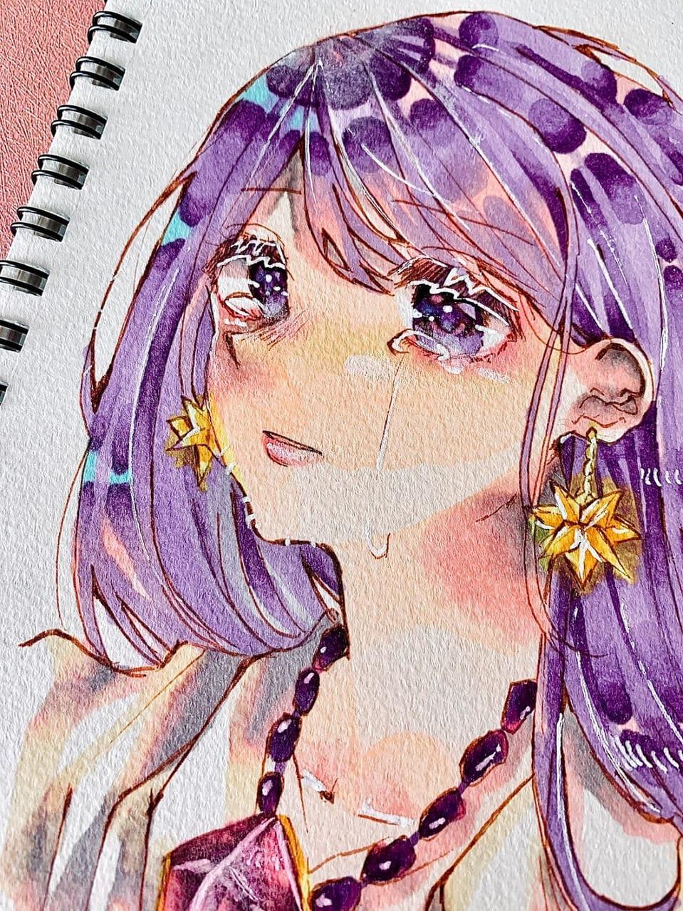 イヤリング(?)の位置おかしいよねっていう絵 Illust of フラミパン oc 中学生の本気 girl head star purple アナログ バストアップ tears 過去絵