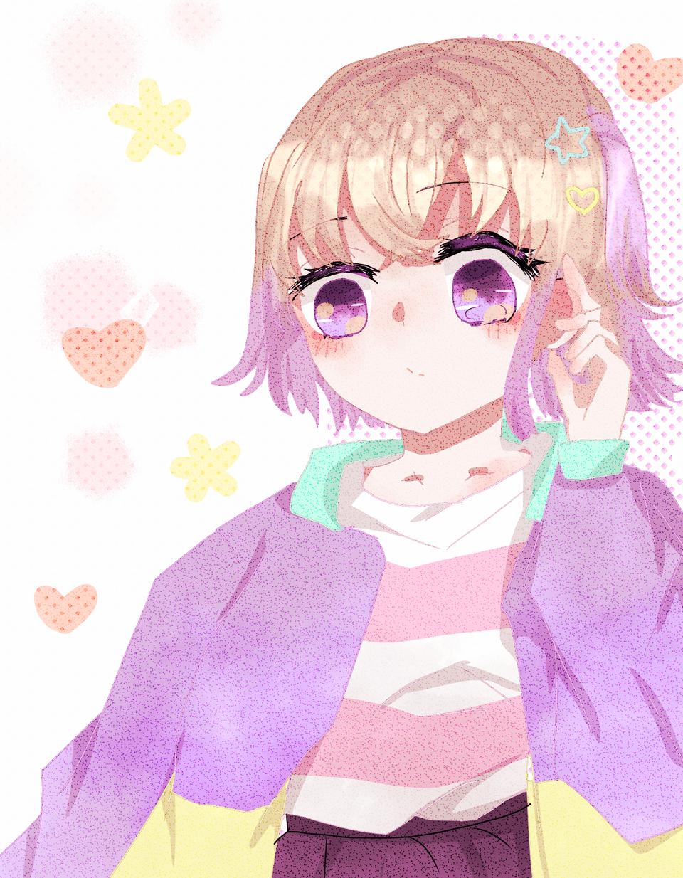 ゆったんのイラストリメイク?°˖✧◝(⁰▿⁰)◜✧˖° Illust of Kaede0118* Whereabouts art* パステルカラー girl @YUTTAN色 リメイク