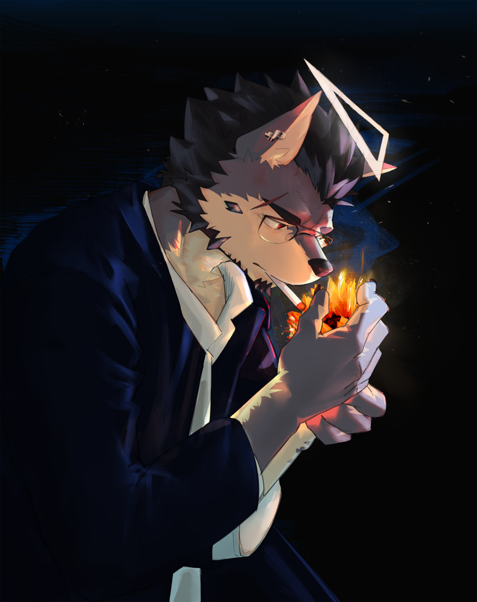 向日葵的夜晚 Illust of Znuuk April2021_Flower furry 獣人 向日葵 wolf 兽人