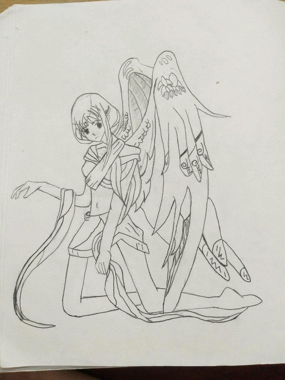 天使(眼睛不知道要画什么风格的) Illust of ꕥ᭄不亏不欠丫ꦿঞ AnalogDrawing girl ꕥ᭄不亏不欠丫ꦿঞ anime