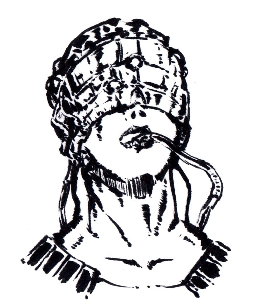電脳 Illust of 竹林一 May2021_Monochrome サイバー 人造人間 電脳 monochrome 機械 art サイボーグ 芸術 cyberpunk original