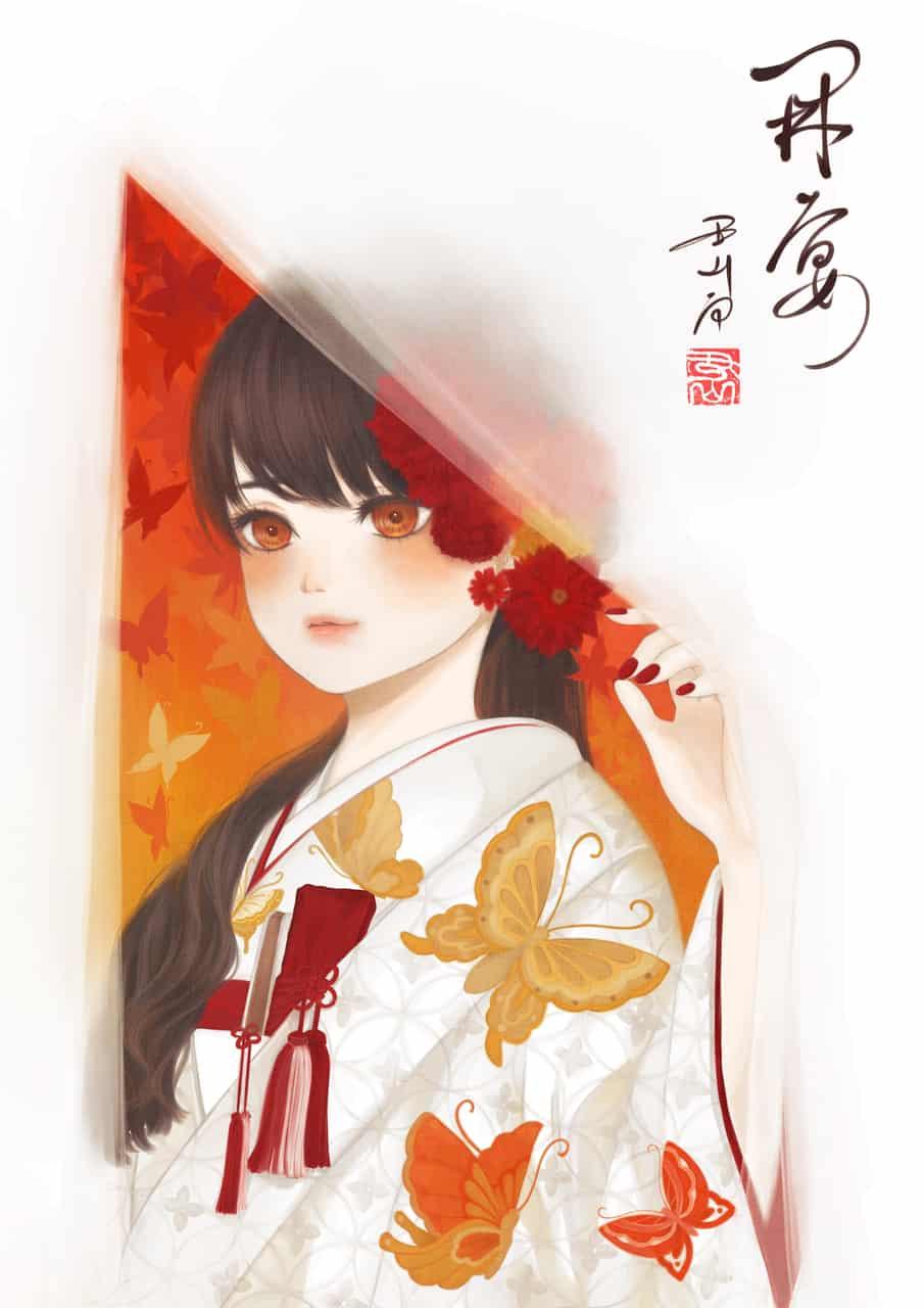 開宴 Illust of 丑山雨 Sep.2019Contest wedding メディバン autumn 白無垢 紅葉 girl iPad medibangpaint