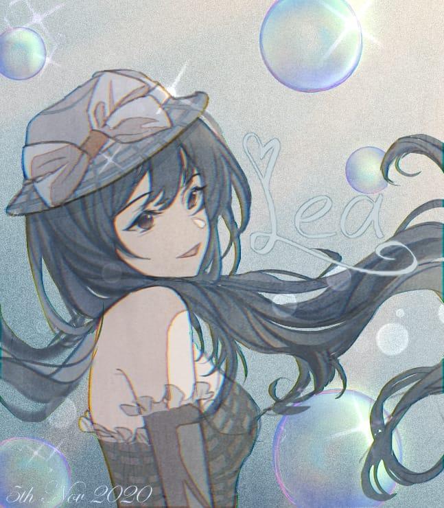 Green Illust of Lea original girl Bubbles art