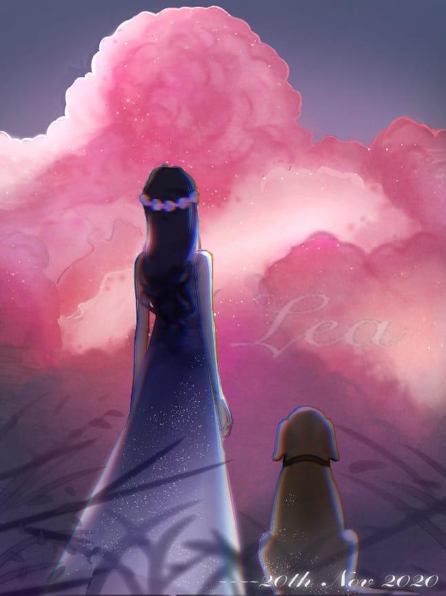 Pink & dog Illust of Lea pink girl digital art dog clouds original