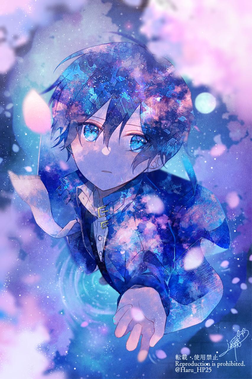 夜の来訪者 Illust of 遥川遊 watercolor blue オリジナル創作 oc original flower boy sakura