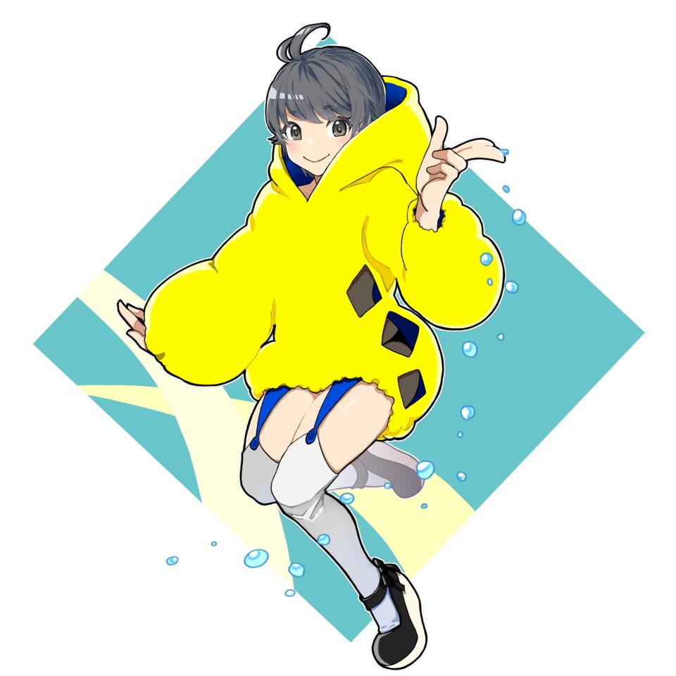 ケロケロ Illust of まっくろくろな January2021_Contest:OC oc girl 太もも ニーハイ yellow ヴィネット