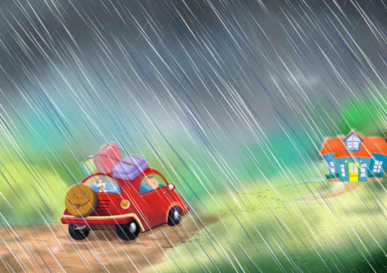 trio4-雨が降ってきたね😢! Illust of beach st ペンション rain びしょぬれ クルマ