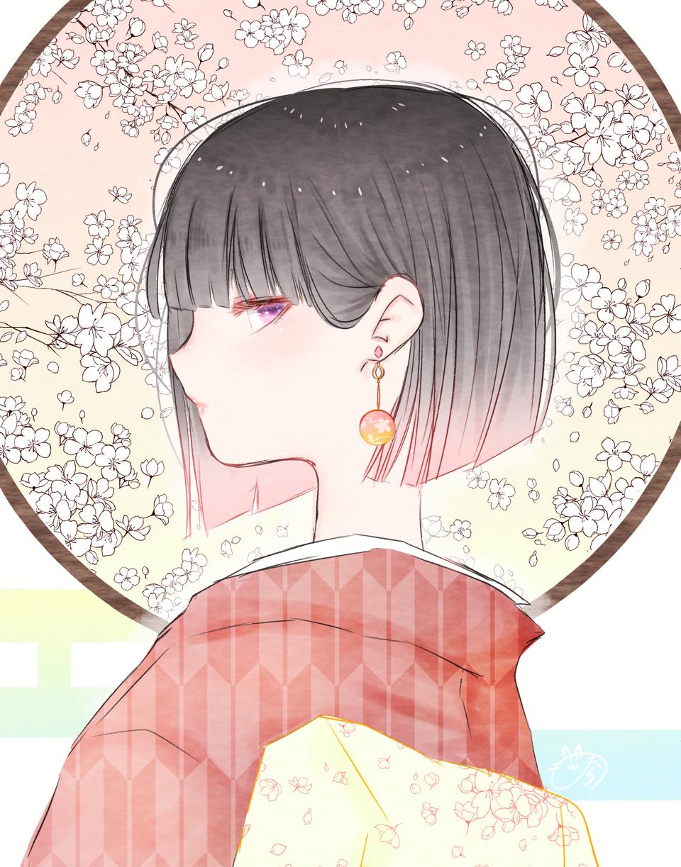 桜模様 Illust of nora ARTstreet_Ranking girl 横顔 original 春 kimono medibangpaint 黒髪