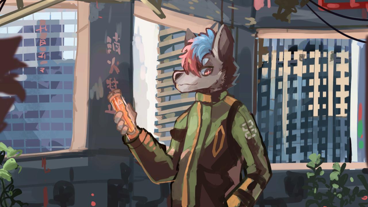 我不知道 Illust of 肯尼吉 furry game 獸人 background cyberpunk