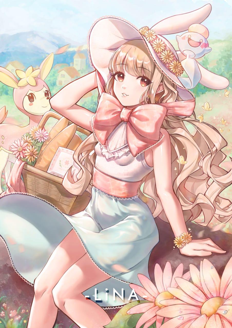 花 Illust of A_LINA April2021_Flower girl ribbon