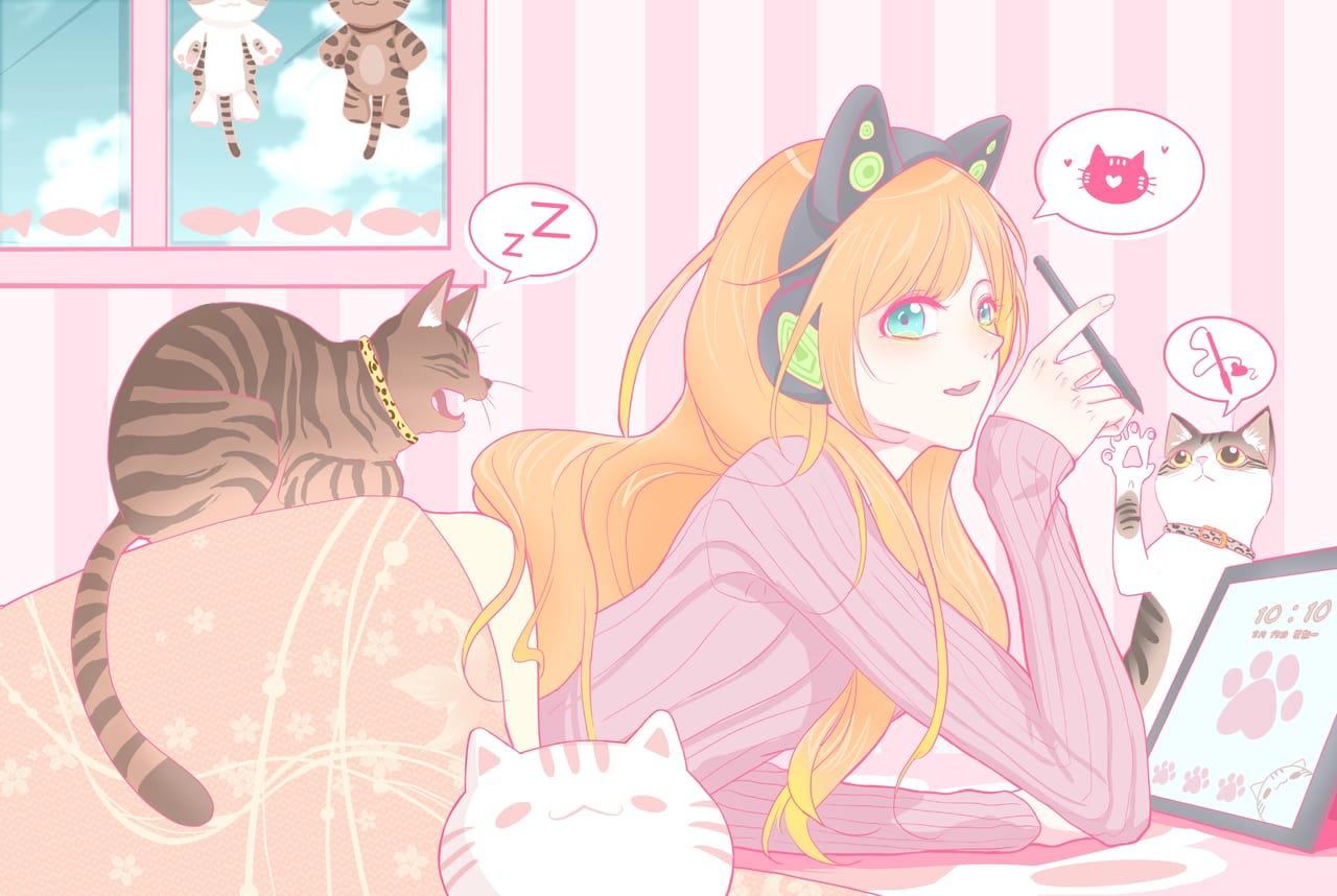 Meow~ Illust of 六森屋 ART_street_Illustration_Book_Contest pink cat girl