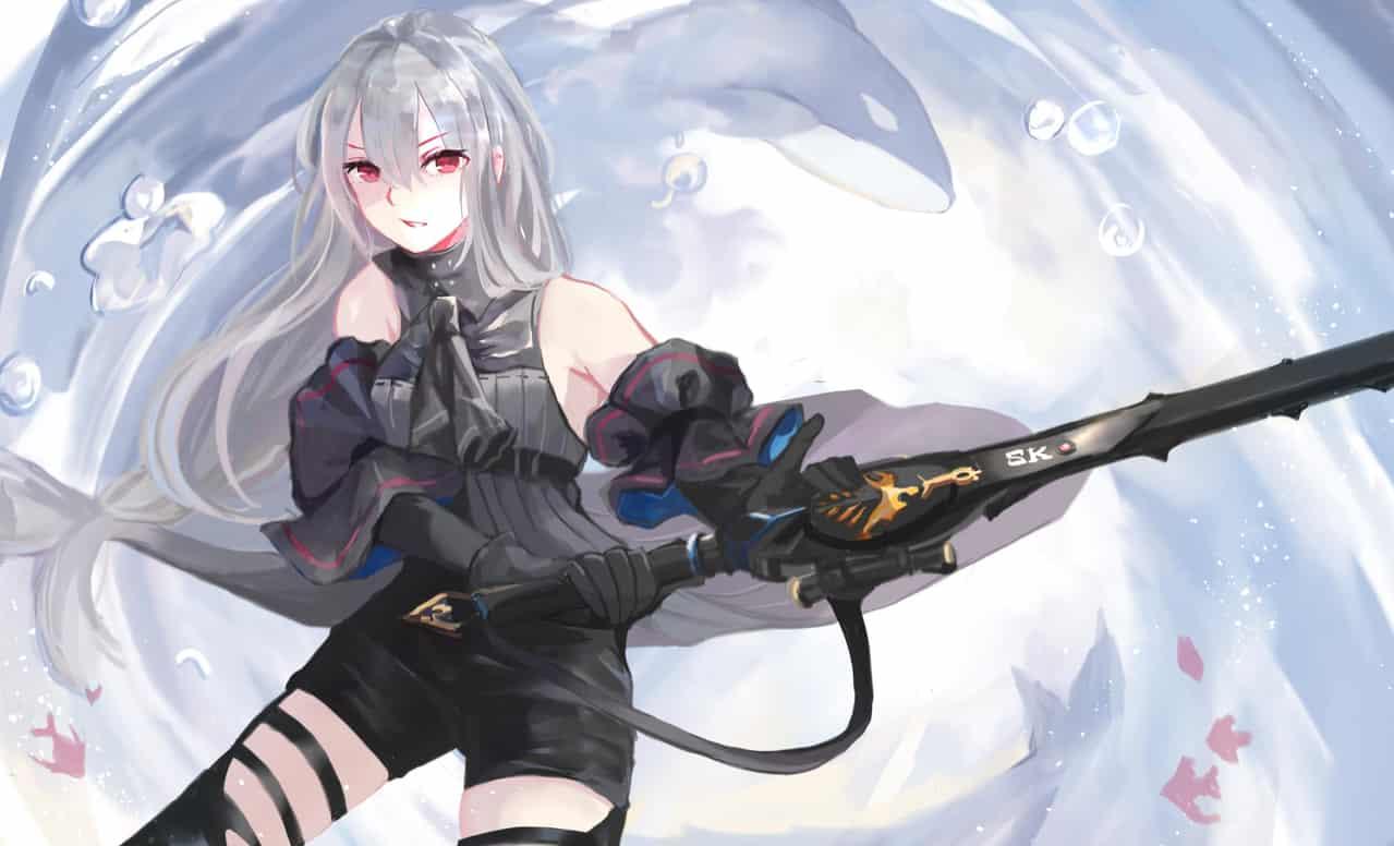 Arknights Illust of Ritsu 芊律 腿 girl Arknights firstpost 斯卡蒂