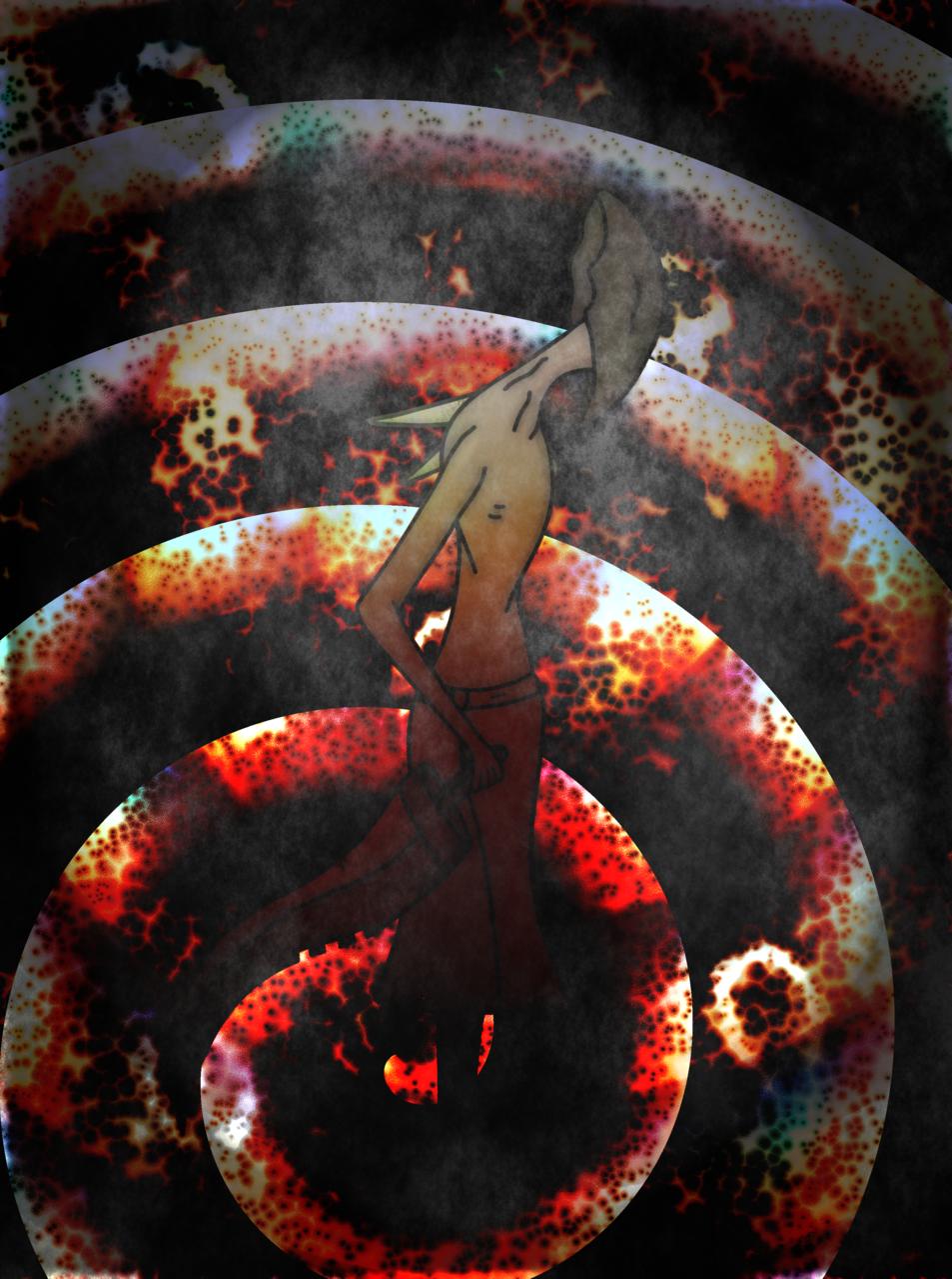 Undaunted Illust of CopperNeon August2020_Contest:Horror anime Creepypasta demon blood black dark illustration creature monster red