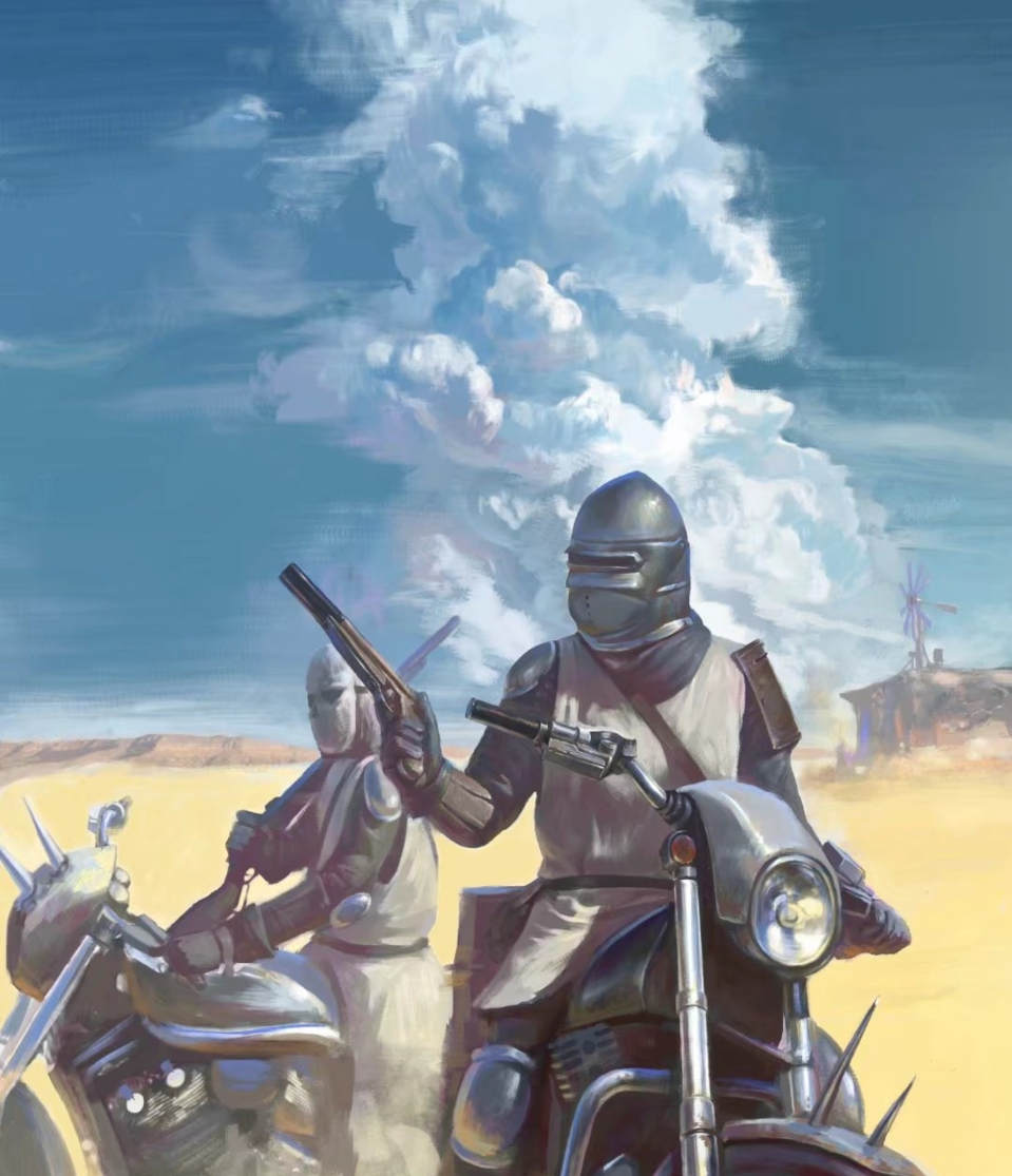 废土骑士 Illust of SUN6ZF medibangpaint 人物 沙漠 impasto 骑士 clouds 摩托 illustration 枪 practice color
