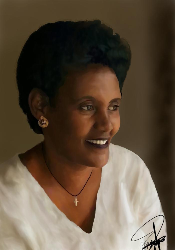 Me Mum (made on Medibang Paint) Illust of CJustMe medibangpaint woman mother realistic smile cute habesha beautiful portrait