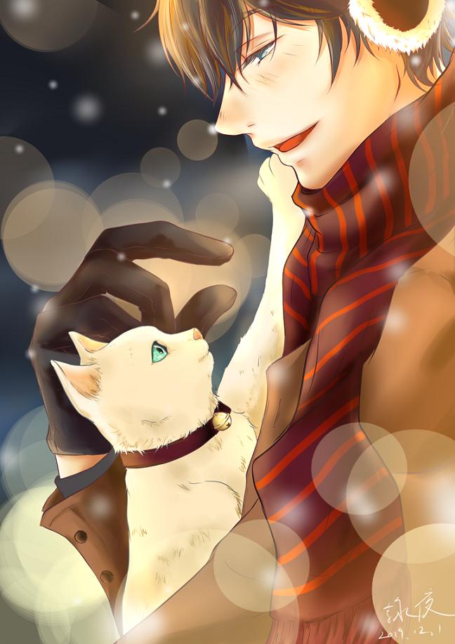 貓 Illust of 詠夜 DOGvsCAT_CAT 貓 boy 冬天 snow 圍巾