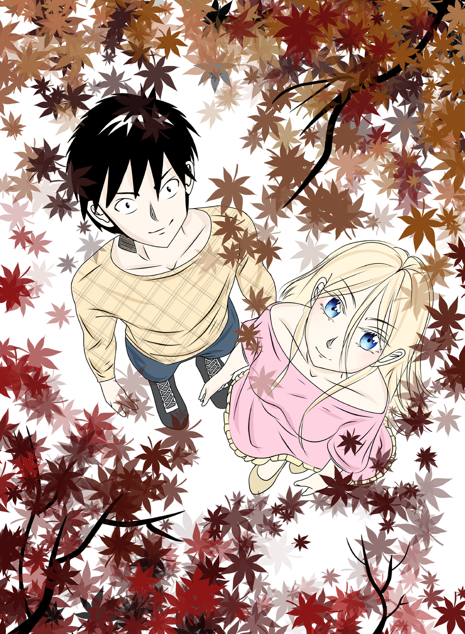 Love in Autumn Illust of VioletHoshimi game Oc's illustration Fingerpaint autumn medibangpaint manga mangaart friend love