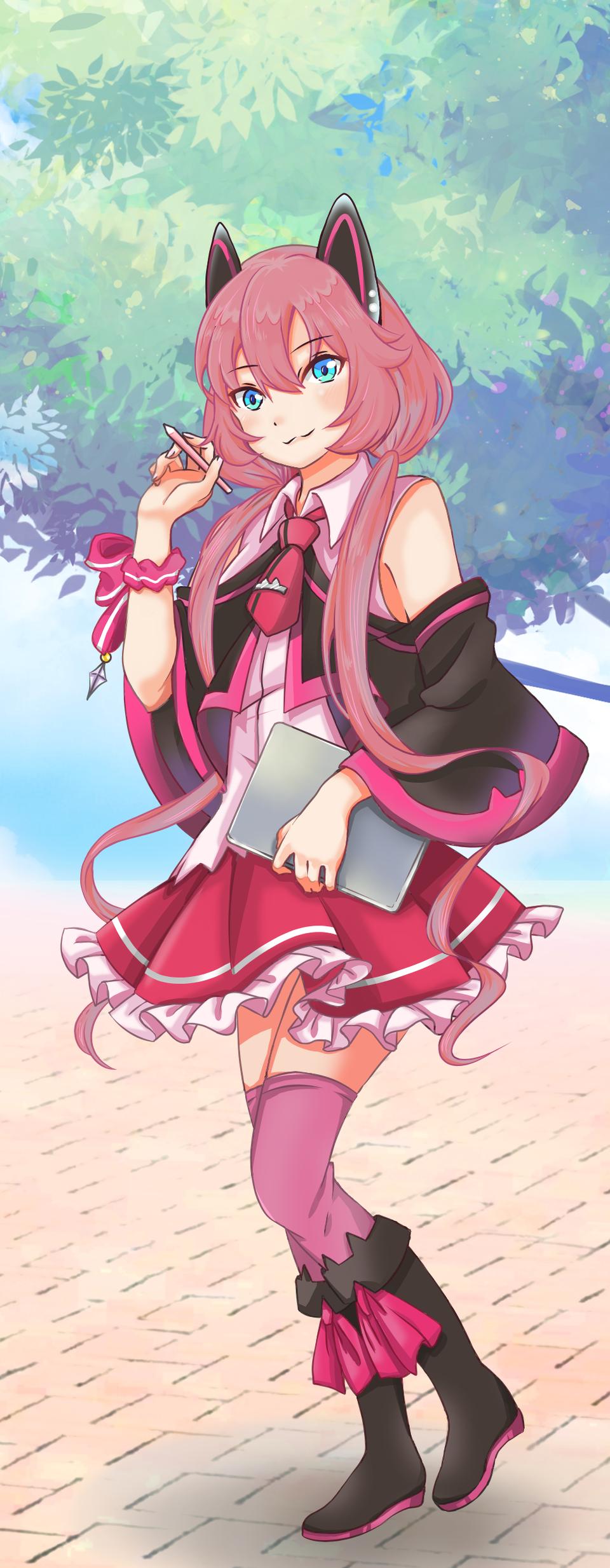 Pink cat Illust of Carrot PASTEL_SKETCH2020 個性的 girl 貓