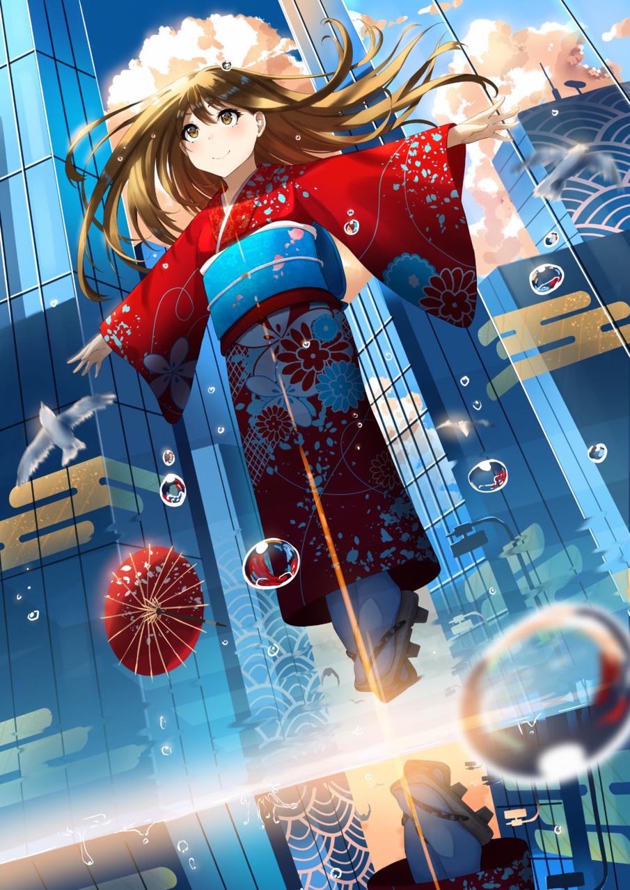 町と風と着物 Illust of h-appa Kyoto_Award2020_illustration kimono girl