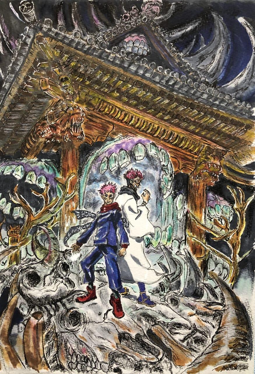 伏魔御厨子 Illust of 胡蝶しずく JujutsuKaisenFanartContest 両面宿儺 JujutsuKaisen Yuji_Itadori 呪術廻戦ファンアート