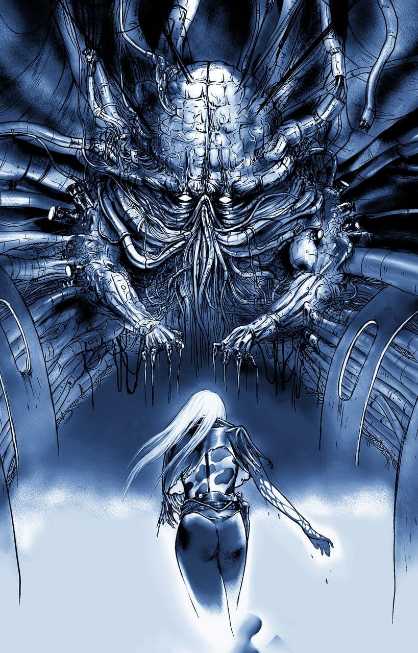 地下人造人間 Illust of 竹林一 sci-fi March2021_Creature MySecretSocietyContest May2021_Monochrome 機械 サイバー 秘密 monster original 地下 人造人間 芸術