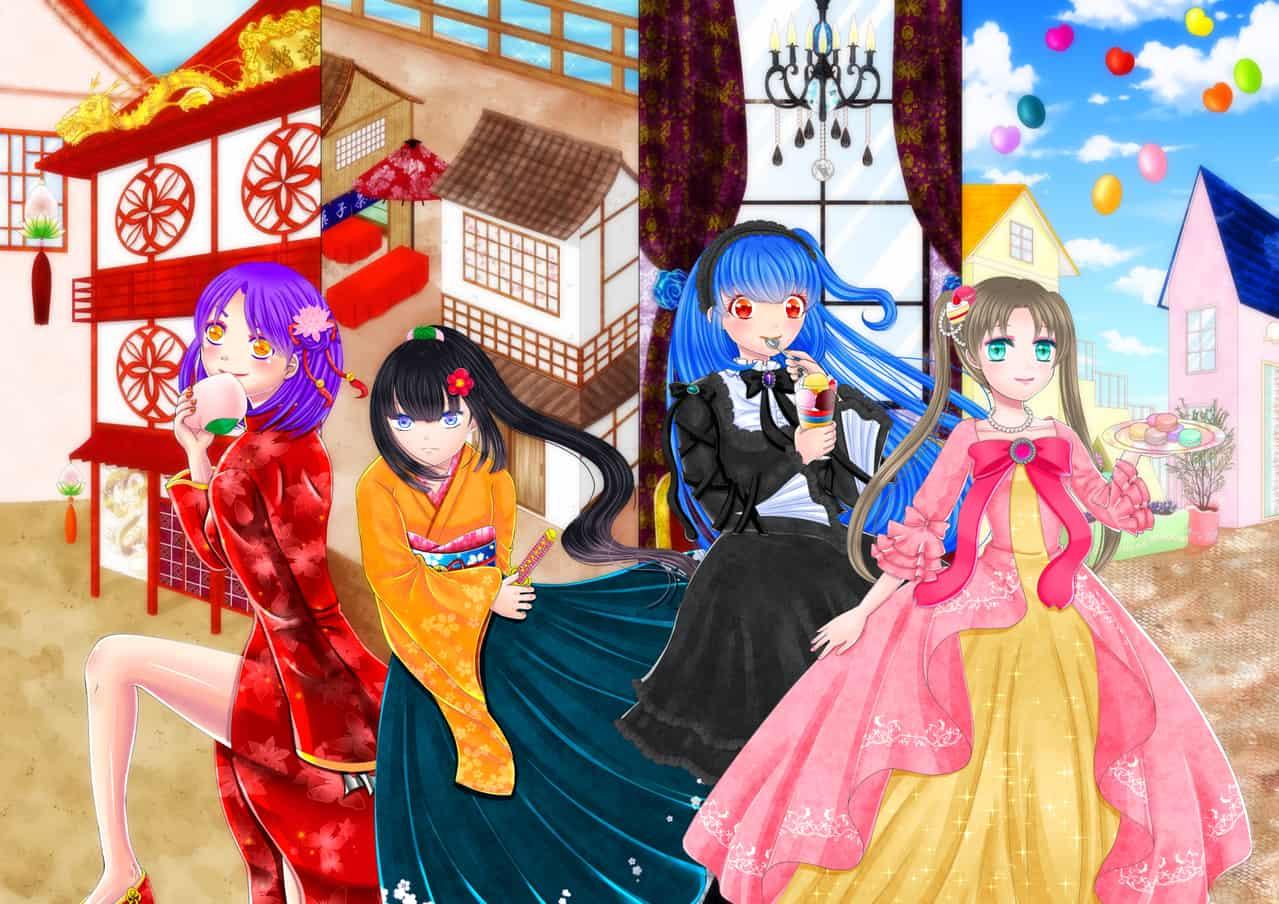女の子4人 みかん缶 イラスト アートストリートart Street By
