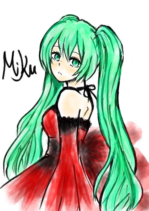 ミクちゃん Illust of 嫺やか medibangpaint hatsunemiku 筆 watercolor