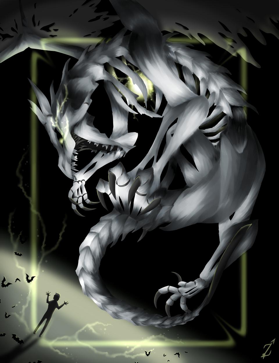 RESURRECTION Illust of Zyvra Dragonfyre medibangpaint skeleton dragon Halloween furry oc magic evil bones monster