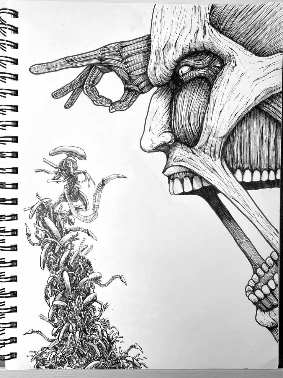 【Drawing】Colossal Titan V.S alien / art / Timelaps Illust of chuanchieh villain drawing ColossalTitan ペン画 alien art illustration fanfic AttackonTitan sketch