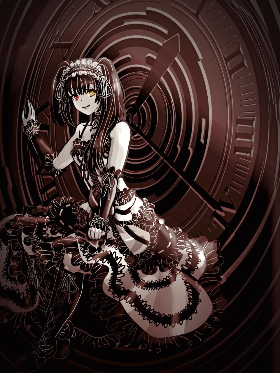 Tokisaki Kurumi Illust of Akira Luca lolita girl date_a_live DateALive clock fanart 時崎狂三 black_hair