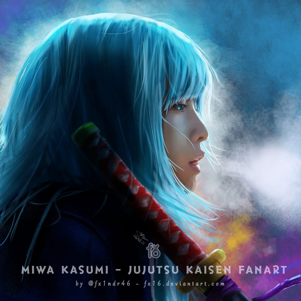 It's Cold and Stay Cool in the Battle, Miwa... Illust of fx1ndr46 JujutsuKaisenFanartContest digitalpainting fx16 FightingGame fx1ndr46 JujutsuKaisen fanartdigital digital Portraitpainting digitalillustration realistic MiwaKasumi