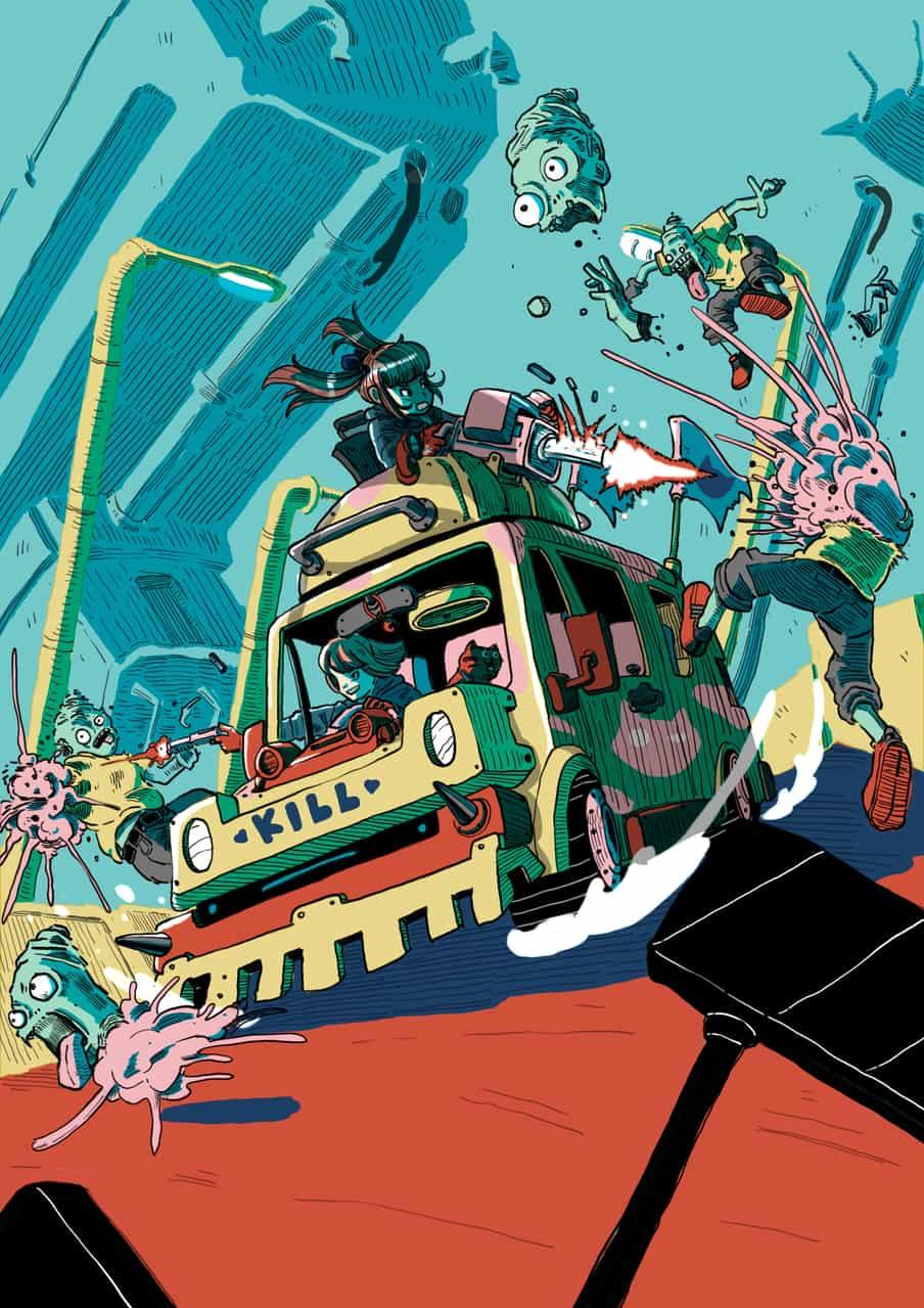 Me and the zombie apocalypse world. Illust of Wutikai action November2020_Contest:Cyberpunk January2021_Contest:OC friend fight girl Apocalypse future city Mechanic cutegirl