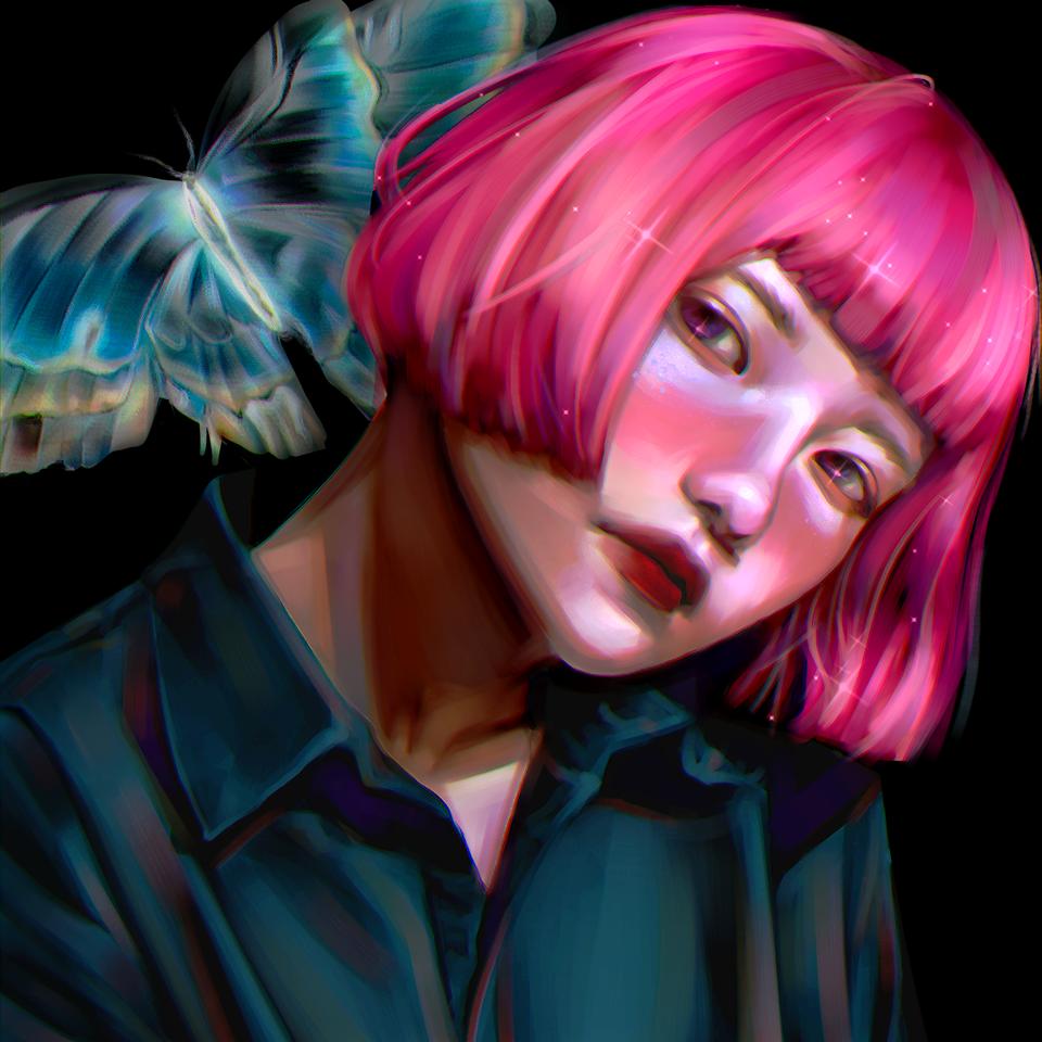 Moth Illust of pecaxx 美少女 illustration Asethetic 色塗り練習 cute 插畫練習