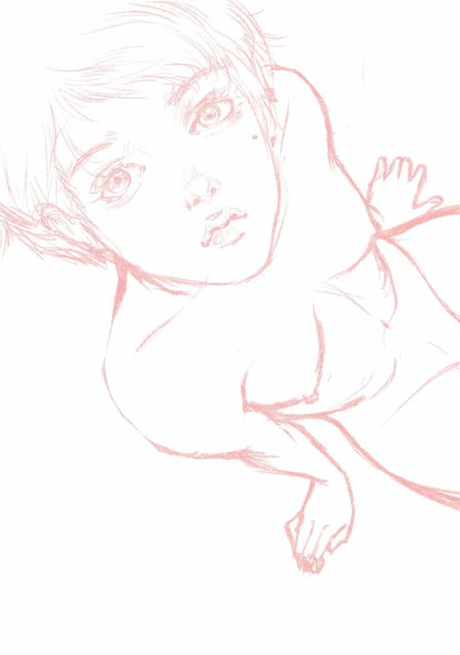 角度練習 Illust of ドドドミノ ❥ MyIdealWaifu_MyIdealHusbandoContest MyIdealWaifu nude girl nudeart woman 仰望