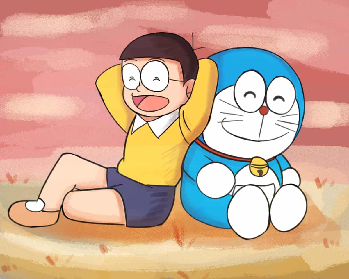 Nobita and Doraemon Illust of Pempem pastel anime animestyle Doraemon red eyes