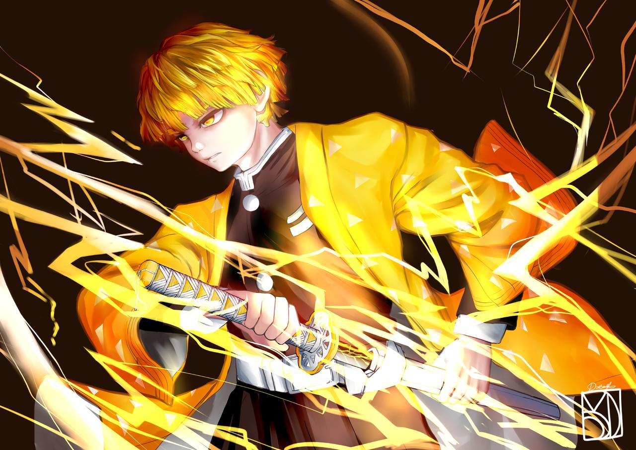 Agatsuma Zenitsu Illust of DanMaeDe_Arts DemonSlayerFanartContest PTS KimetsunoYaiba AgatsumaZenitsu
