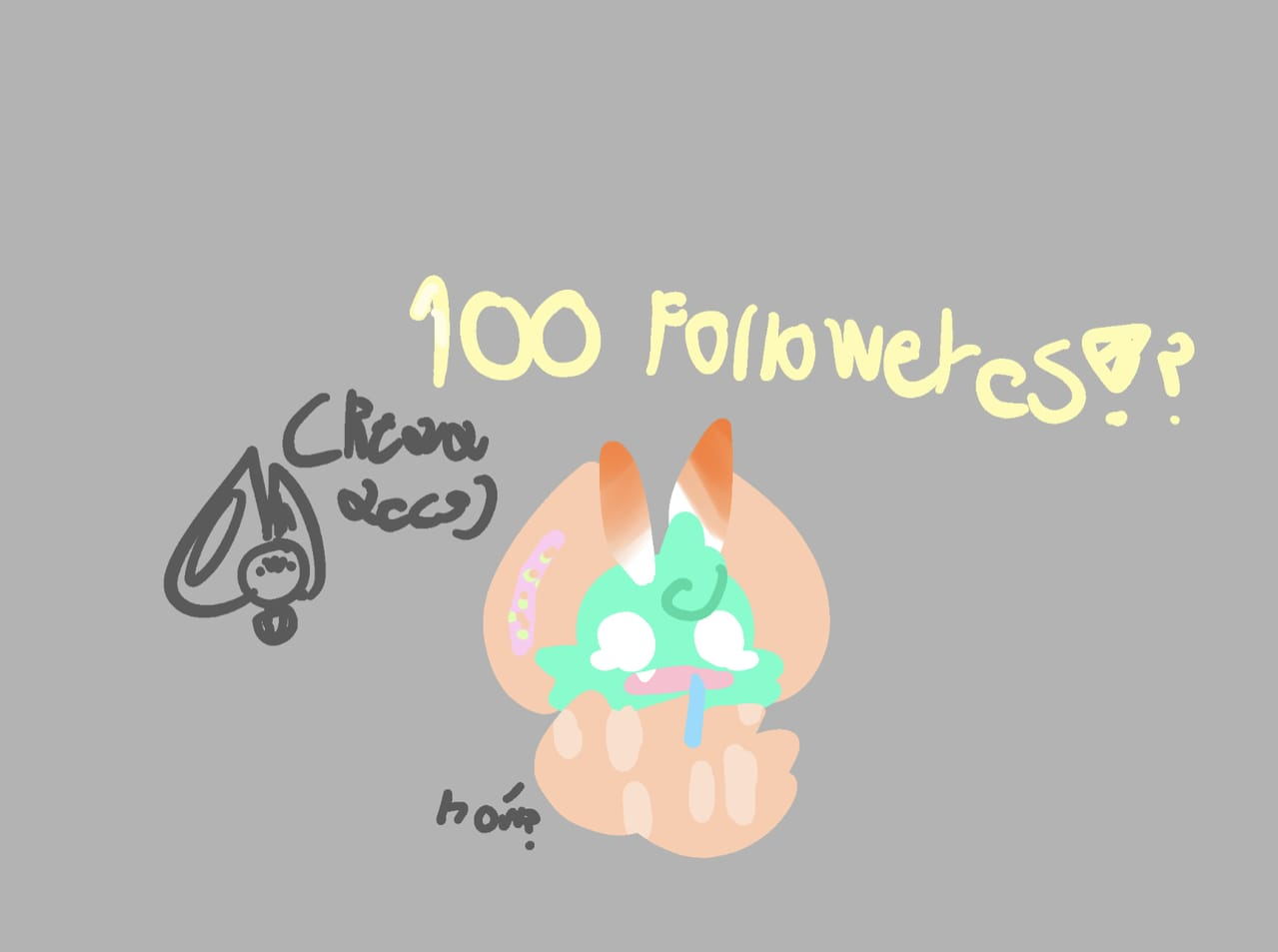 lol thx for 100 followeres. Illust of cat on ø