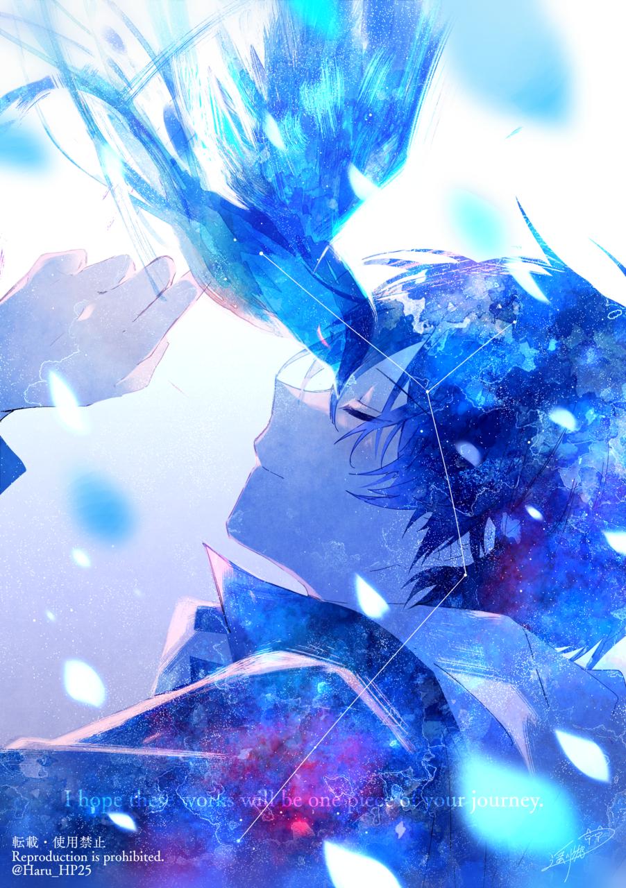 届け、青い鳥 Illust of 遥川遊 blue オリジナル創作 boy watercolor oc original