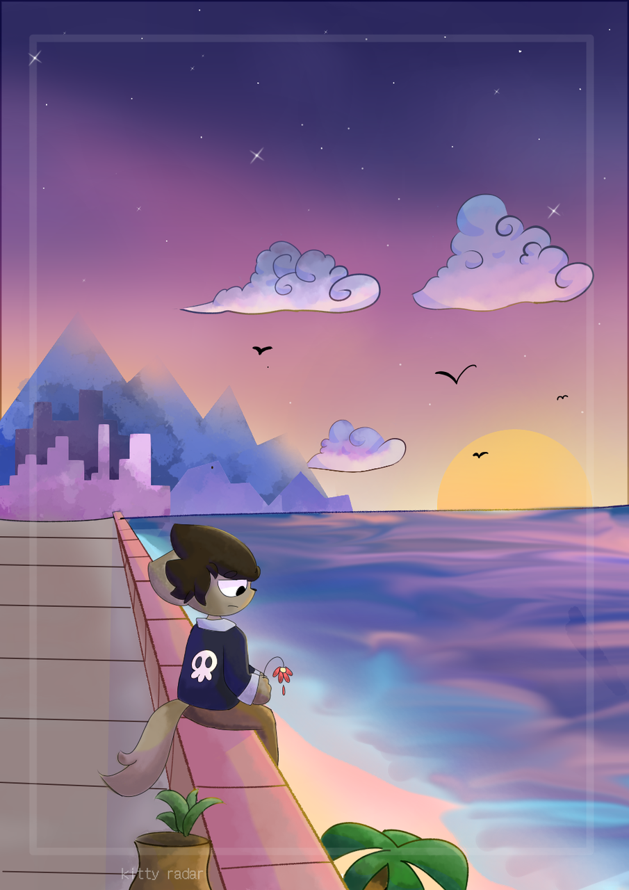 i know we can make it better Illust of kitty radar medibangpaint blue perspective purple oc pink asthetic sunset furry