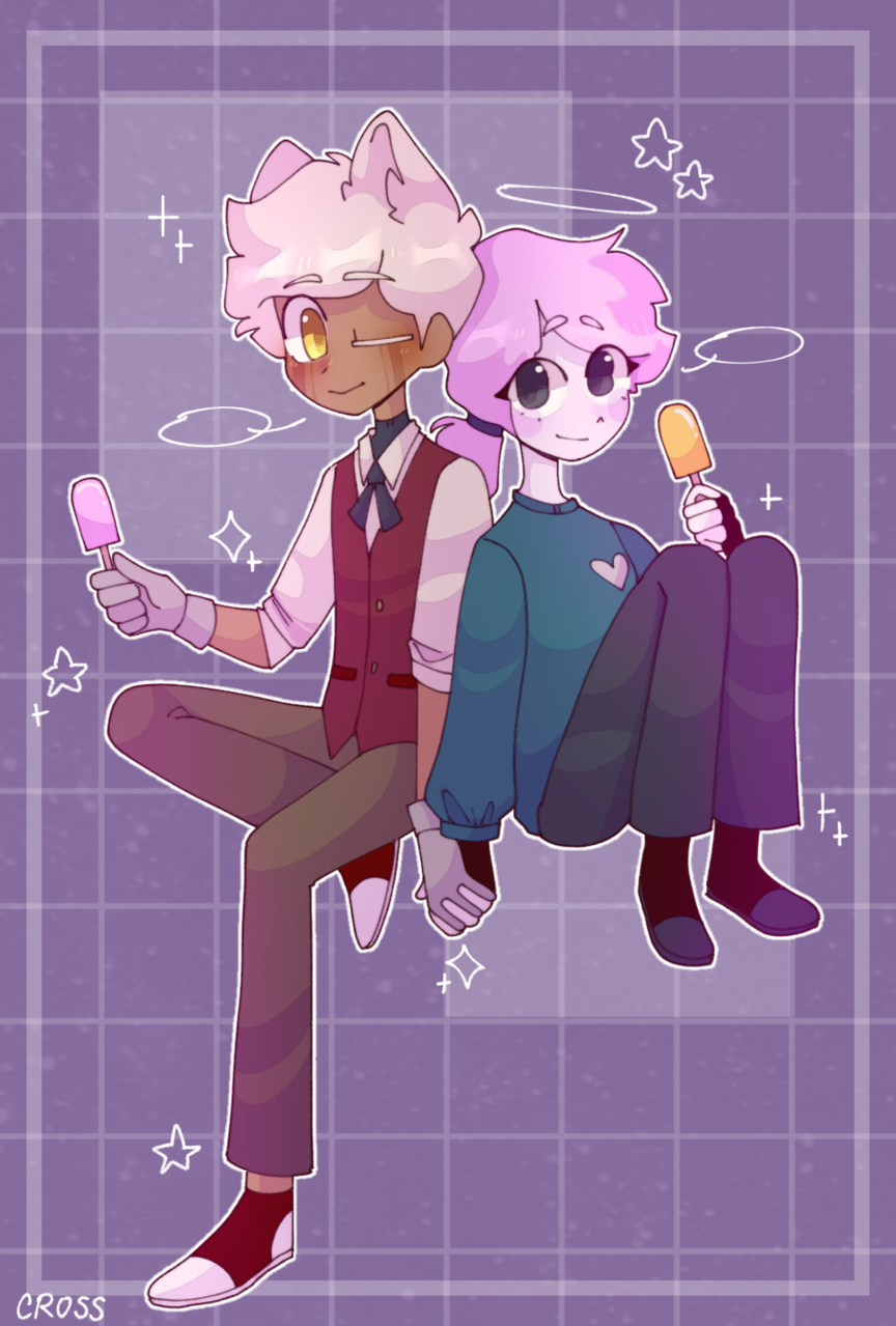 Pink and Yellow Illust of CrossOut thisartshouldlvlup drawing oc