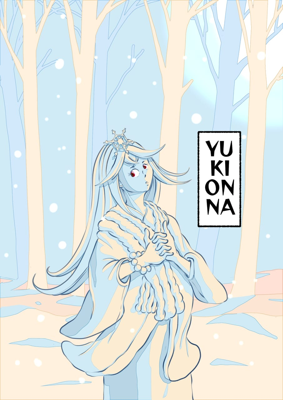 Yuki Onna Illust of Wutikai May2021_Monochrome girl Japanese_style yokai snow cute kimono hill scenery oc