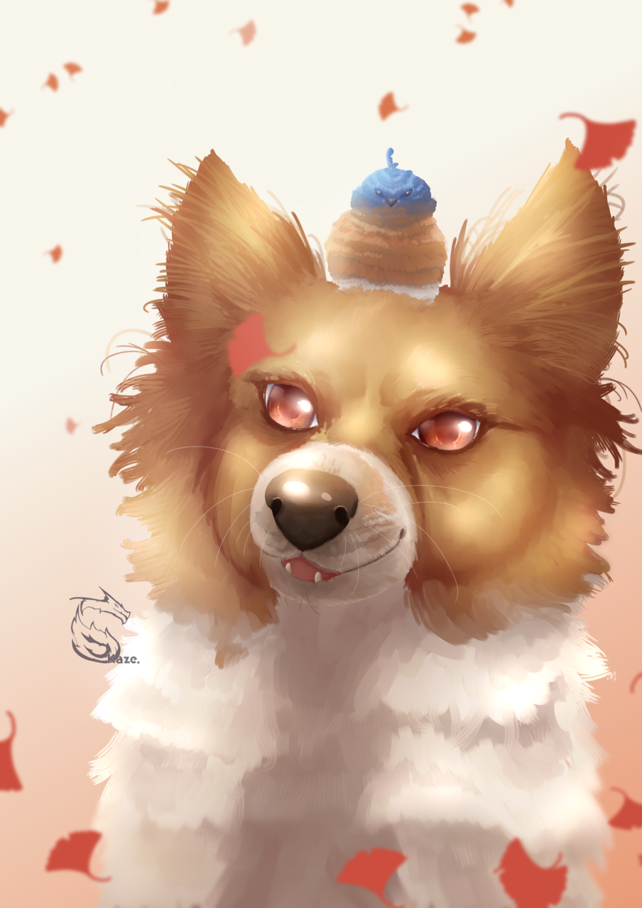 [AT] Camden Illust of Kazecoo birds animal Medibang art drawing dog arttrade digital illustration