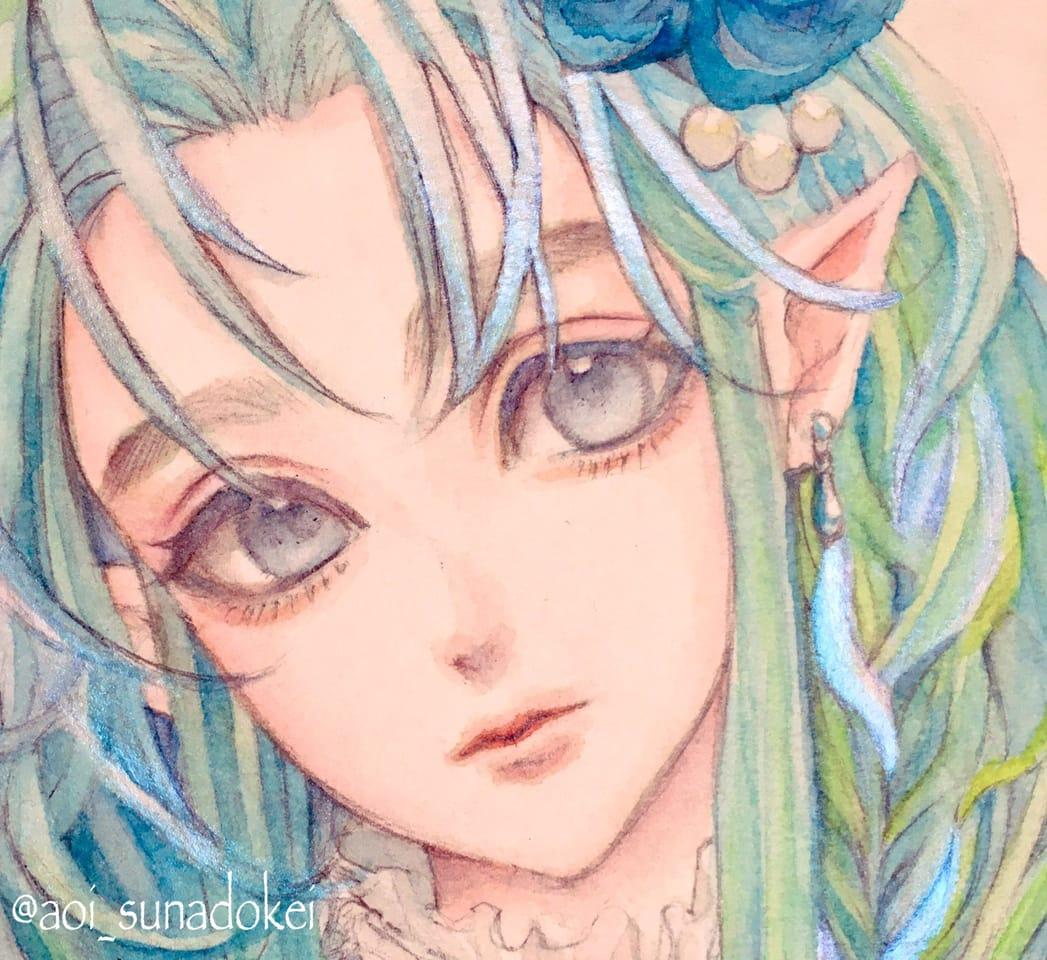 エルフ Illust of 青砂時計 oc watercolor ファンタジーキャラ original AnalogDrawing