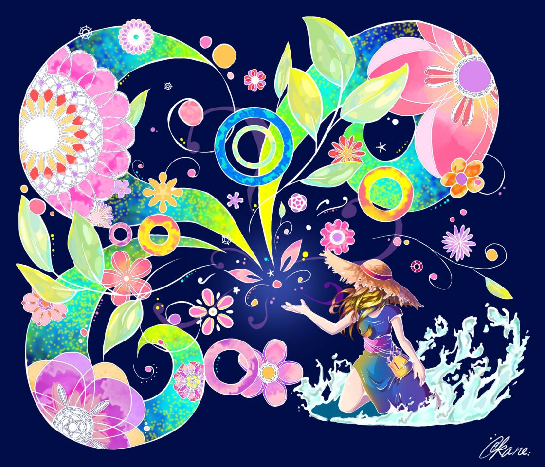 Color Seed (Dark ver) Illust of Akanilka April.2020Contest:Color flower girl 夢見る少女 種 rainbow カラフル Colorful