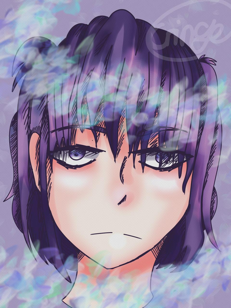 Testing Illust of Cringe Official illustration Artwork girl flower digitaldrawing art blue flowers purple color
